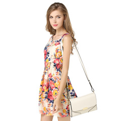 Summer Women Vest Dress Printed Skirt Sleeveless Floral Chiffon Dress 01 s
