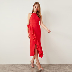 New lady sexy halter ruffled red slim dress 01 s