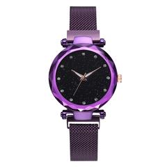 Women Rose Gold Mesh Magnet Buckle Starry Quartz Watch Casual Women Quartz Wristwatch 1