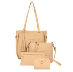 Woman Bag Set Fashion Female Purse and Handbag Four-Piece Shoulder Bag Tote Messenger Purse Bag Khaki One Size
