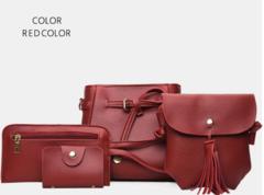 New fashion women's bag shoulder diagonal shoulder bag four-piece suit red one size