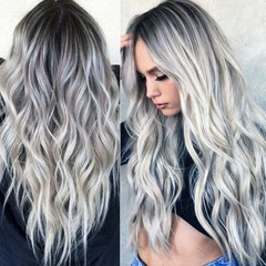 Human hair wig with long curly hair COS gray gradient anime wig new female chemical fiber wig as picture as picture