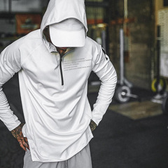 Autumn sports jacket men's head long sleeve quick-drying fitness clothes men's clothing White M