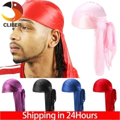 Cliber Women Men Unisex Silky Durag Do Doo Du Rag Long Tail Headwrap Bandana Caps Men Women Headband Black one size
