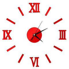 Wall Clock Luxury Large DIY 3D Decor Wall Sticker Clock Living Room Home Decor Mirror Art Design Red one size