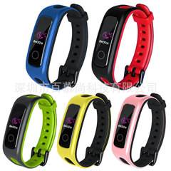 Applicable glory 4 bracelets strap running version strap sports two-color TPU two-color strap black