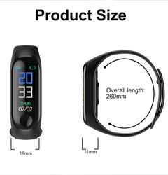 New M3 smart bracelet Bluetooth step counter heart rate blood pressure sleep monitoring black