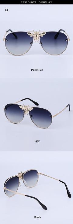 2019 new metal bee sunglasses European and American fashion trend sunglasses sunglasses grey General purpose