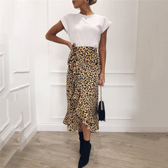2019 Europe and the United States new fashion leopard ruffled bag hip large swing dress Dark green s