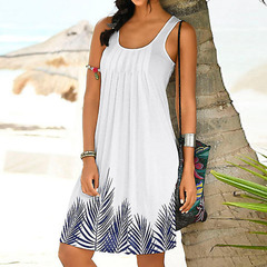 Womens Sleeveless Dress Print Fashion Dress Ladies Holiday Summer White Dresses Casual beach dresses White s