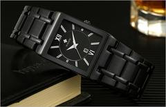 New fashion square men's quartz watch waterproof calendar steel belt men's watch black