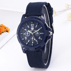 Watch men's top brand luxury casual military quartz sports watch soft nylon belt male clock blue