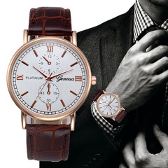 Luxury Watches Men Geneva Stainless Steel Ultra Thin Watches Men Classic Quartz Men's Wrist Watch Brownish white