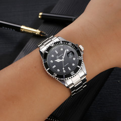 Men's fashion stainless steel date sports quartz pointer analog watch men's watch wristwatch black