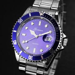 Men's fashion stainless steel date sports quartz pointer analog watch men's watch wristwatch blue