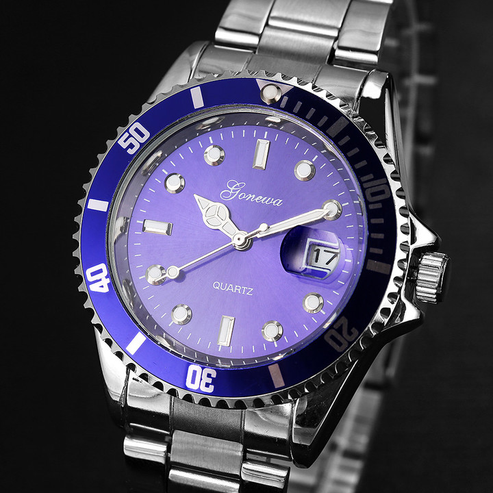 Men's fashion stainless steel date sports quartz pointer analog watch men's watch wristwatch blue