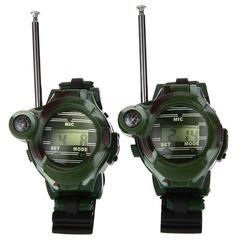 Children's educational toys watch walkie-talkie radio outdoor walkie-talkie toys Army green Walkie talkie