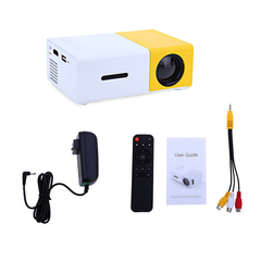 Projector new home Support 3d HD 1080p handheld mini portable USB projector Yellow-white 50W