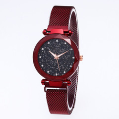 Luxury Women Watches Magnetic Starry Sky Female Clock Quartz Wristwatch Fashion Ladies Wrist Watch red