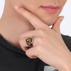 Brand new men's fashion ring Vintage gossip religious ring brown Number 7
