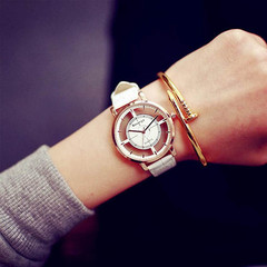 Double-sided hollow watch, male and female students, simple retro fashion tide watch white