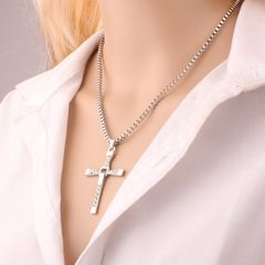 Toledo Speed and Passion 8 Pendant Cross Necklace Hip Hop Men's Accessories silver 48CM