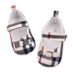 Baby girl plaid printing fashion cloth walking shoes non-skid breathable toddler shoes 01 11(10.5cm)