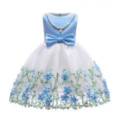 Girl princess dress kids flower pearl necklace stage dress birthday party dress wedding dress 02 150cm