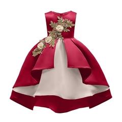 Girls Elegant Flowers Embroidery Princess Skirt Kids Wedding Dress Party Dress Stage Dress 01 110cm