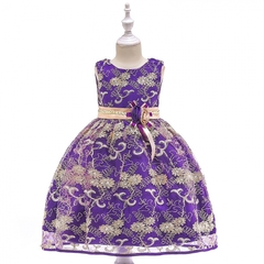 Girl luxurious embroidery dress kids wedding dress flower girl gauze dress birthday party dress 01 110cm
