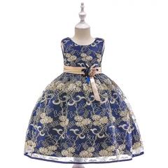 Girl luxurious embroidery dress kids wedding dress flower girl gauze dress birthday party dress 04 130cm