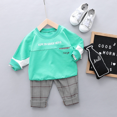 New Autumn Baby Boy 100% Cotton Clothes Suit Girl Kids T-shirt +Pants Two-piece Set 01 80cm