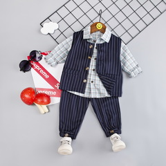 Baby boy 100% cotton clothes suit kids vest+shirt+pants three-piece suit kids clothing 01 80cm