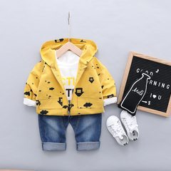 Baby boy 100% cotton clothes suit kids coat+shirt+pants three-piece suit kids clothing 01 80cm