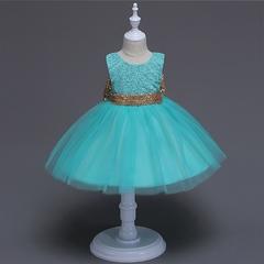 Girl sequins bow dress wedding dress flower girl dress birthday party dress kids formal clothes 01 90cm