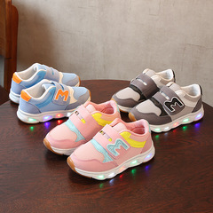 Spring Baby boy fashion light board shoes casual shoes girl kids LED flash sneakers red 22