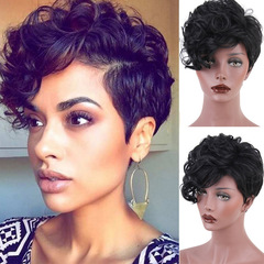 HF Best selling lady fashion short curly wig headgear black as the picture