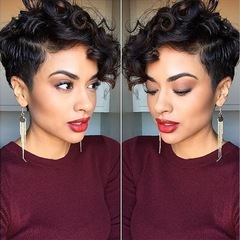 HF Hot selling  lady fashion short wig black curly hair girl realistic wig black as the picture