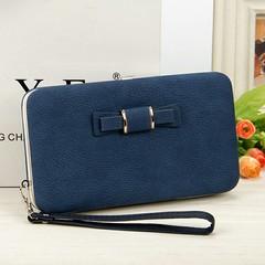 New Korean ladies wallet long mobile phone bag cute bow  handbag 01 as picture