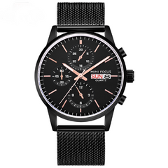 Calendar waterproof fake three-eye quartz men's watch