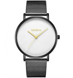 Simple large dial steel mesh strap watch