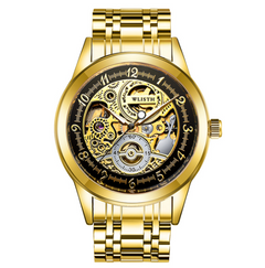 Golden men's mechanical watch