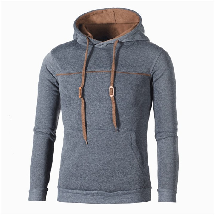 2019 New striped color matching men's casual hooded pullover sweater coat
