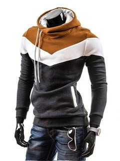 2019 New Mosaic Hooded Men's Casual Sweater Fashion Slim Hooded Sweater for Men