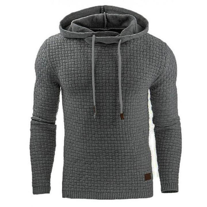 Men Hooded Sweatshirt Solid Color Plaid Hoodies Male Long Sleeve Hoodie Casual Sportswear US Size