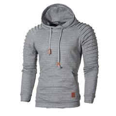 Men's Jacquard Striped Sweater Long Sleeve Hoodie Warm Color Hooded Sweatshirt Jacket