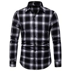 Lucky Men Fashion Men's Business Plaid Casual Long Sleeve Shirt