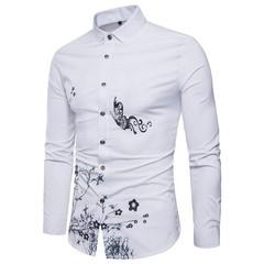 Lucky Men Four Seasons Long-sleeved Men's Shirts Printed Gold Powder Tide Models Hollow Shirts