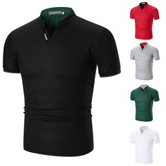Fashion Mens Dress Casual Slim Fit Short Sleeve Polo Shirts -White Cotton black s
