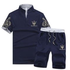 Fashion 2 Piece Set Men's Short Sleeve Shorts New men's Casual Suit Short Pants T-shirt blue m